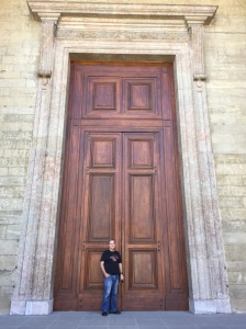 That's a bloody big front door! At St Peter's Cathedral